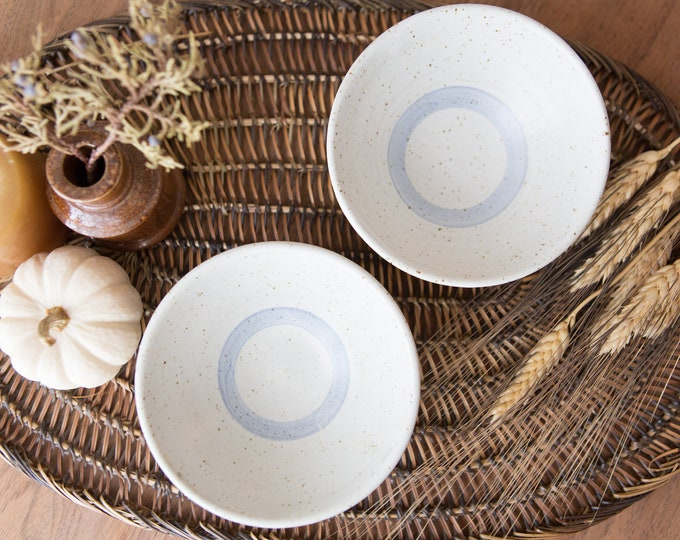 2 Ceramic Bowls - Speckled Robins Egg Style Studio Pottery Stoneware - Circular Pattern Dishware - Earthtone Ceramic Bowls