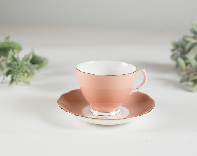 Vintage Teacup - Millennial Pink and White Tea Cup and Saucer - Cololough Ridgway Potteries Bone China - Made in England