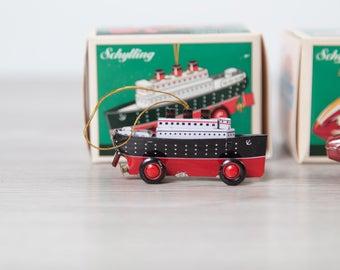 Vintage Schylling Ocean Liner Ornament - Tin Toy Christmas Tree Decor - Ocean Liner  - Kids Children Present