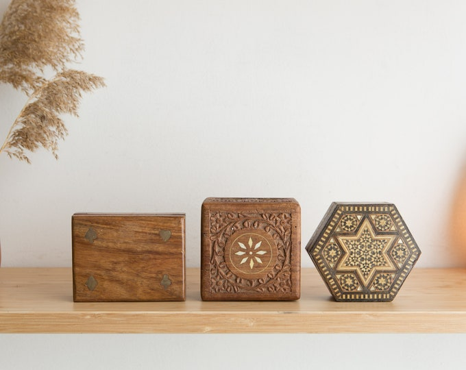 Vintage Trinket Boxes - 4 Handmade Jewelry and Card Deck Box and Taracea Hexagon Box - Moroccan Style Ring Box