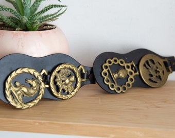 Vintage Brass Horse Harness Medallions Mounted on a Martingale - Set of 4