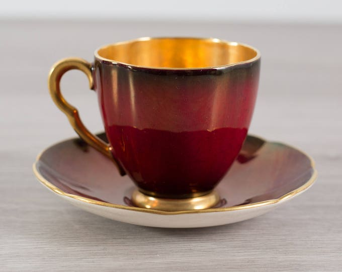 Carlton Ware Teacup - Vintage Red and Gold Fine Bone China Teacup and Saucer - Made in England