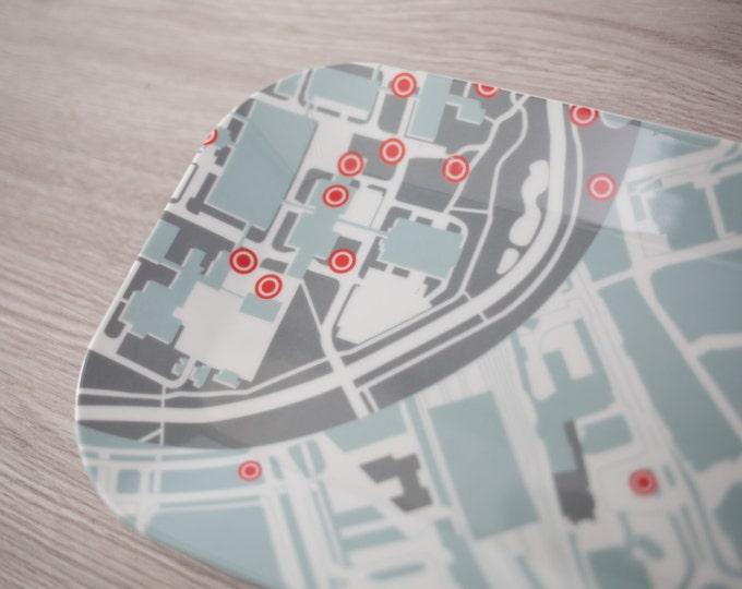 Dutch Tray with a map of Eindhoven - University in the Netherlands - by Designer Lilian Van Stekelenburg . Mid Century Modern Minimalist