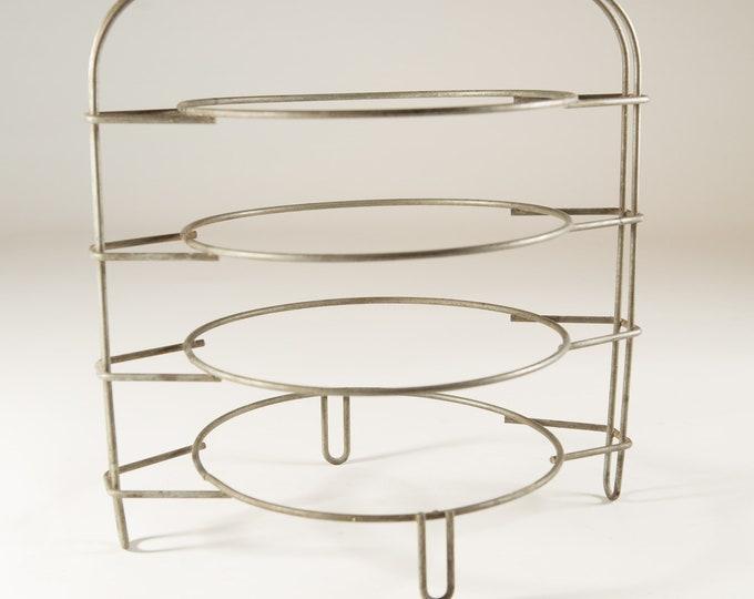 Vintage Plate Stand - Food Dish Platter Divider - Dessert Tea Service Metal 4-tiered Plate Basket / Rack