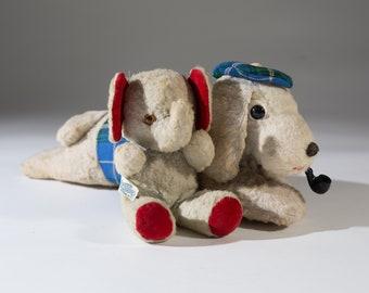 Antique Teddy Bears - Pair of Vintage Elephant and Dog Stuffed Animal Set - Retro Plush Bears