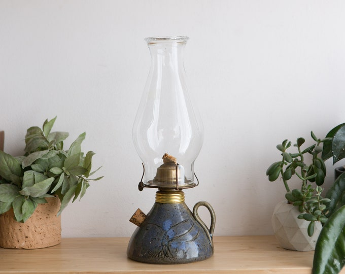 Chimney Oil Lamp - Vintage Ceramic and Glass Lantern with Wick - Retro Lighting - Farmhouse Country Wedding Decor - Father's Day Gift