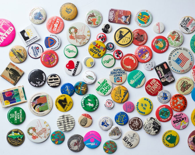 80 Vintage Buttons - Collectible Vintage Pin On Buttons From Toronto, Canada - Pepsi, Joe Jackson, Las Vegas Jail, etc -Tourism Collectibles