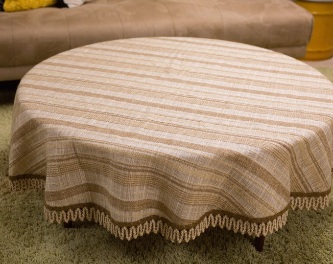 Vintage Round Tablecloth - 1960's Striped Creamy Brown Mid Century Modern Scandinavian Circular Geometric Style Linen Fabric Tapestry