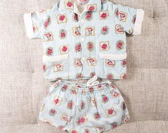 Vintage Infant Cabana Shorts and Shirt Set - Newborn Baby Hawaiian Tropical Tiki Pool Lounge Wear