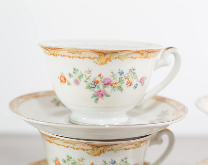 Renwick Japan Teacups  / Set of 9 Vintage Cups and Saucers with Floral Pattern