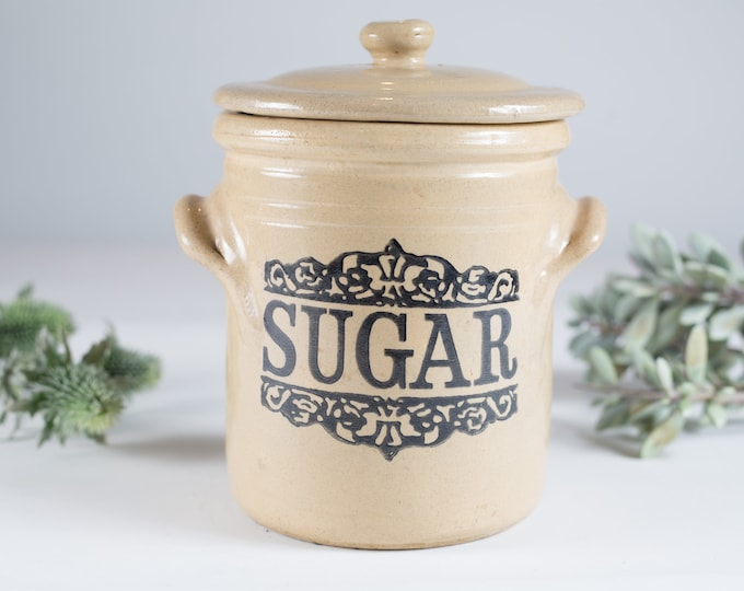 vintage Sugar Canister with Retro Lettering - Ornate Black Pattern on Handmade Pottery Jar - decorative Rustic Kitchen Retro Advertising