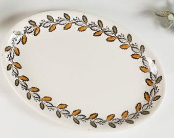 Vintage Kathie Winkle Oval Serving Plate with Autumn Pattern - 1970's Broadhurst Ironstone Hand painted Underglaze Dinnerware