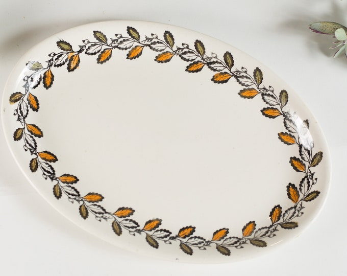 Vintage Kathie Winkle Oval Serving Plate with Autumn Pattern - 1970's Broadhurst Ironstone Hand painted Underglaze Dinnerware