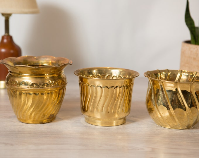 Vintage Brass Planters - Round Metal Brass Pots for Succulents, Cactus, Plants, Herbs, etc - Gold Coloured Bowl