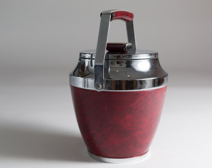 Vintage Ice Bucket - Red Faux Leather Wrapped Metal Chrome Ice Bucket with Tongs - Mid Century Modern Art Deco Barware