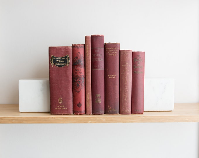 Vintage Red Books - Decorative Burgundy Coloured Book Covers For Home Library or Interior Design - Christmas Colour Decor