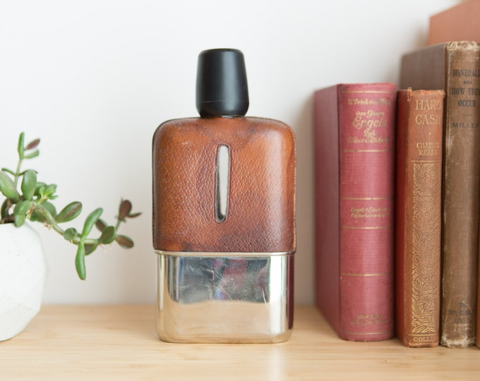 Vintage Glass Flask with Stitched Leather Exterior and Metal Base - Small Alcohol Whisky Rum Carrier / Groomsman Gift - Father's Day Gift