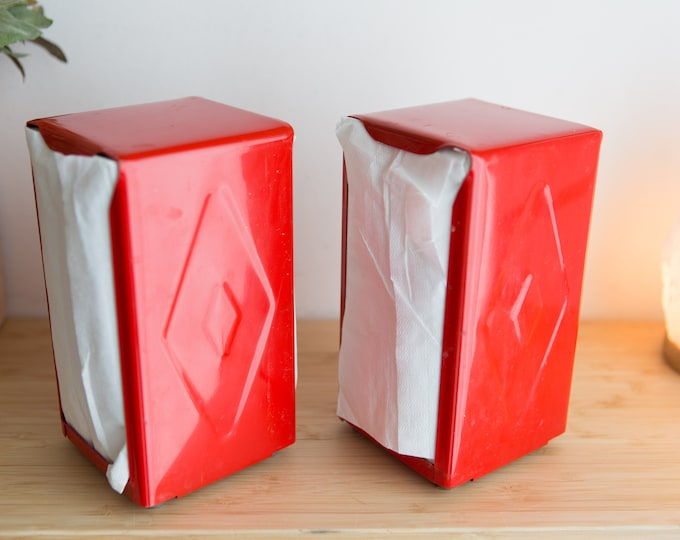 Red Napkin Holders - Pair of Diner Style Table Decor - Pop's Restaurant Riverdale Vibes - Retro Diner