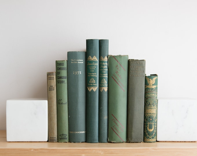 Vintage Green Books - Decorative Green Coloured Book Covers For Home Library or Interior Design - Christmas Colour Decor