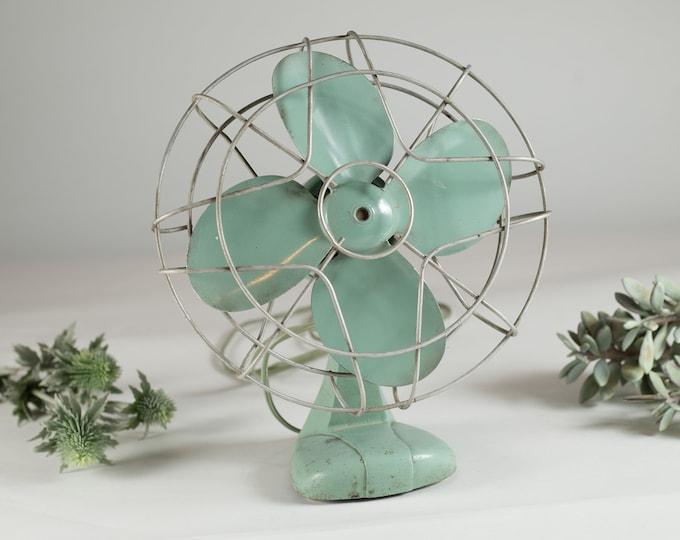 Vintage Metal Fan - Minimalist Decor - Retro Industrial Green Coloured Electric Motorized Fan