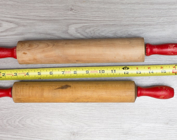 Vintage Rolling Pins - Pair of Red Painted Wood Bowling Pins for Baking, Pie Crusts, Christmas Cookies
