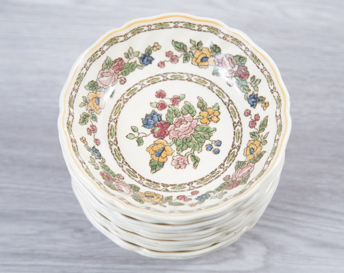 Vintage Floral Bowls - Set of 11 1940's Royal Doulton The Cavendish Ornate Flowers Ceramic Creamy White Antique Dishware - Made in England