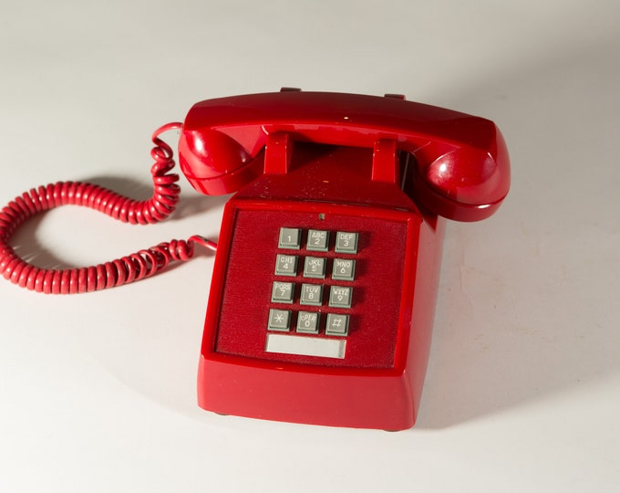 Vintage Red Phone - 1970's Push Button Phone - Retro Stranger Things Phone