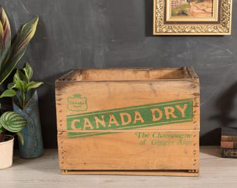 Vintage Soda Crate - Canada Dry Wood Pop Box with Green Letter Advertising - Soda Carrying Case - Home Industrial Rustic Shelving Display