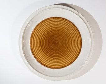 Vintage Dinner Plate - Mid Century Modern Geometric Circle Genuine Stoneware - Made in Japan - Earthtone Orange Brown Art Glaze