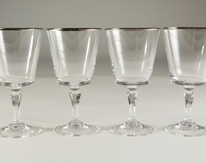 4 Wine Glasses with Platinum Rims - 10oz Mid Century Modern Hollywood Regency Cocktail Glasses - Retro Party Stemware - Mother's Day Gift