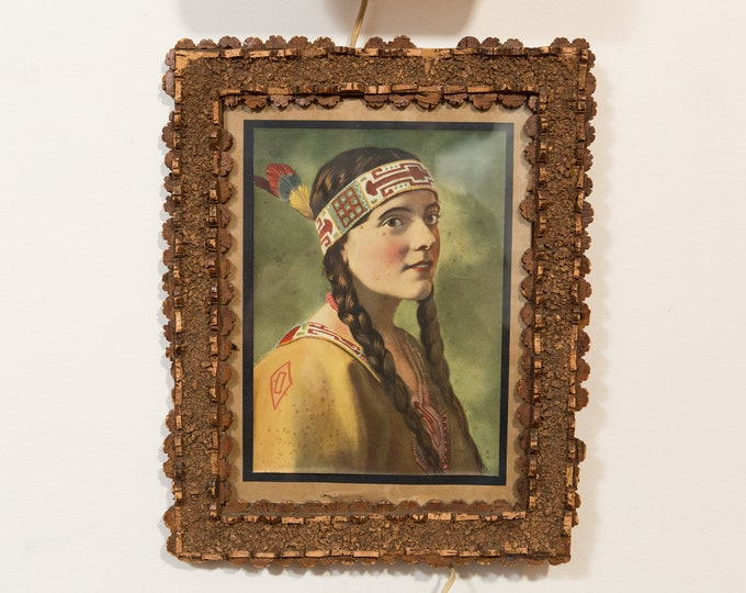 Original 1920's Litho of White Woman Wearing Native American Headband and Feather -Vintage Female Art with Braided Hair and Beaded Head Band