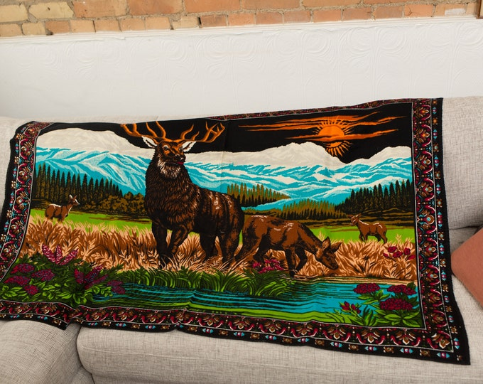 Vintage Deer Tapestry Wall Hanging - 1970's Country Landscape Wild Animal Bohemian Canadian Rockies Mountain Scene Wall Art
