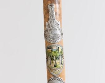 Vintage Wooden Cane - Natural Light Colored Wood Walking Stick with Metal Souvenir Badges - Toronto Vintage - Canada Second Voyage Antiques
