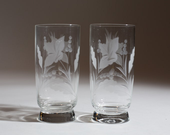 2 Vintage Bar Glasses with Etched Floral Pattern - Mid Century Modern Ornate Cocktail Glasses