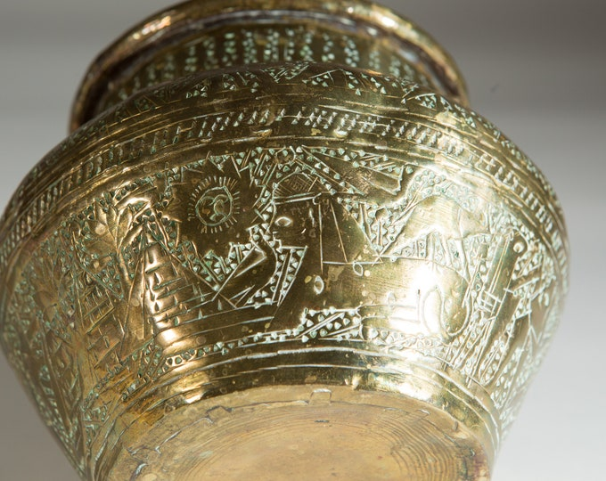 Egyptian Brass Planter - Vintage Pot with Pyramids, Sphinx - Round Metal Jardiniere for Succulents, Cactus, Plants, Herbs, etc