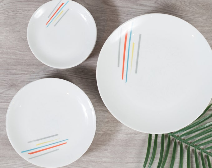 15 Vintage Arzberg Germany Plates - Dinner and Side Plates with Rainbow Stripe Pattern - Minimalist Mid Century Geometric Shape Dinnerware