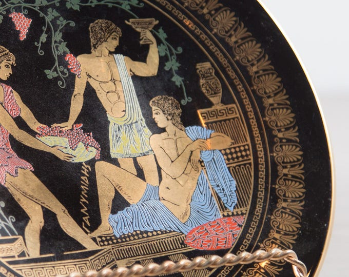 Olympia Greece Plate / Black and Gold Decorative Wall Plate with Grecian Scene - Greek 24k Gold Ceramic Plate