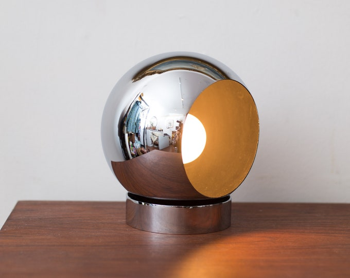 Chrome Eyeball Orb Table Lamp - Mid Century Modern Mirrored Accent Light - Vintage Desk Lamp - Round Atomic Space Age Adjustable