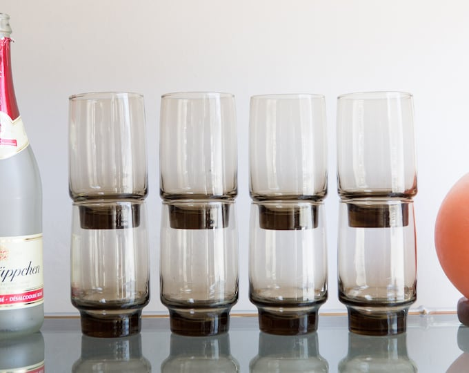 8 Brown Tumblers - Vintage Cocktail Drinking Glasses - Retro Barware Glassware - Mad Men Bohemian Stackable Glass - Coffee Colored Glass