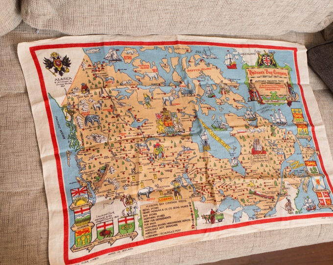 Vintage Tea Towel - Irish Linen Fabric Cloth with Map of Canada - Hudson's Bay Company Historic Trading Posts and Territories