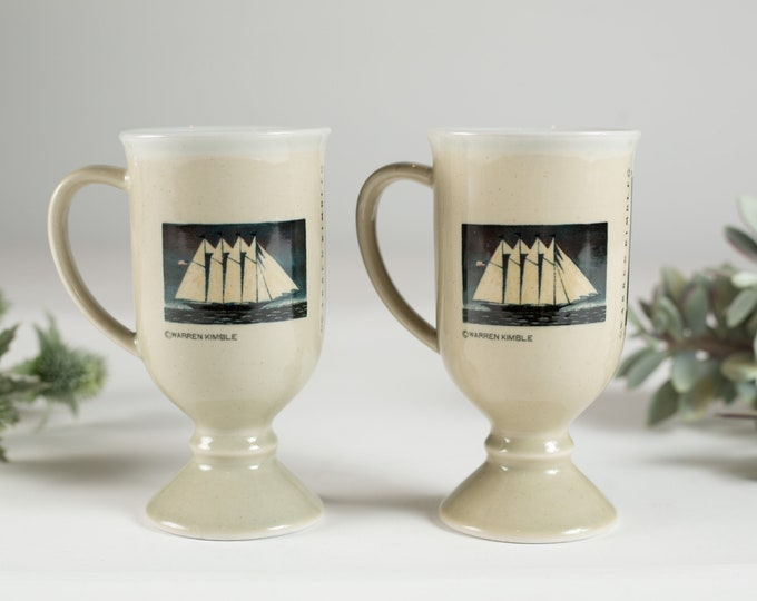 Vintage Nautical Mugs - Pair of Sailing Ship Coffee or Tea Mugs with Cream and Blue Glaze and Sailboats on the City Lake - Seaside