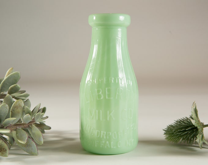 Vintage Jadeite Bottle - Green Milk Glass Vase - Liberty Milk Co. Buffalo, New York - Made in USA Collectible Green Glass Jug