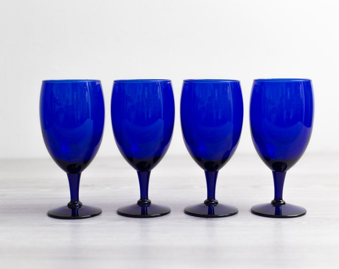 4 Blue Wine Glasses - 16oz Cobalt Blue Vintage Cocktail Pedestal Stemware - Libbey Premiere Barware Glassware