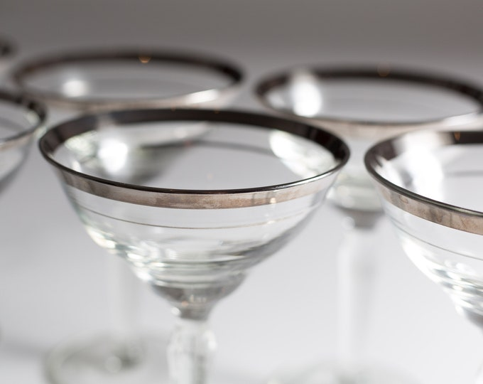 6 Vintage Champagne Coupe Glasses - Silver Rim / Banded Metallic Mid Century Modern Cocktail Glasses - Hollywood Regency Barware