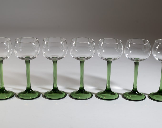 Vintage Green Stem Wine Glasses - 5 ounce - Set of 7 Southwestern Mexican Cactus Style Cocktail Stemware Glasses