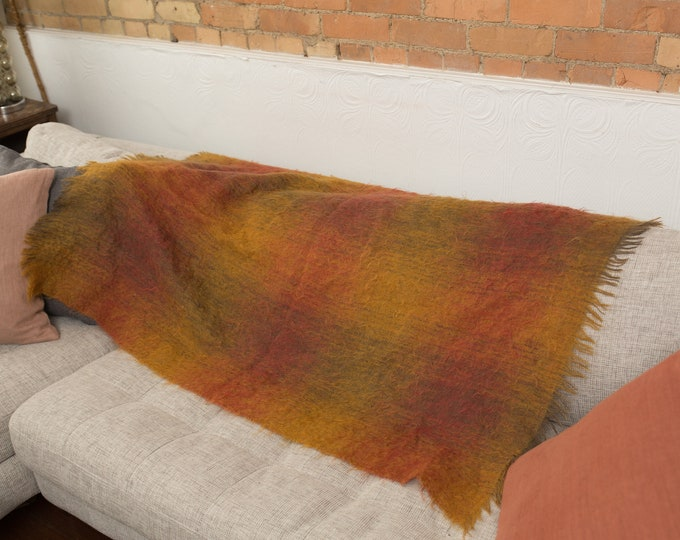 Burnt Orange Ombre Blanket - Home of Wordsworth by Chris Reekie and Sons - Woven in Grasmere, England -  Mohair Orange Throw -Cottage
