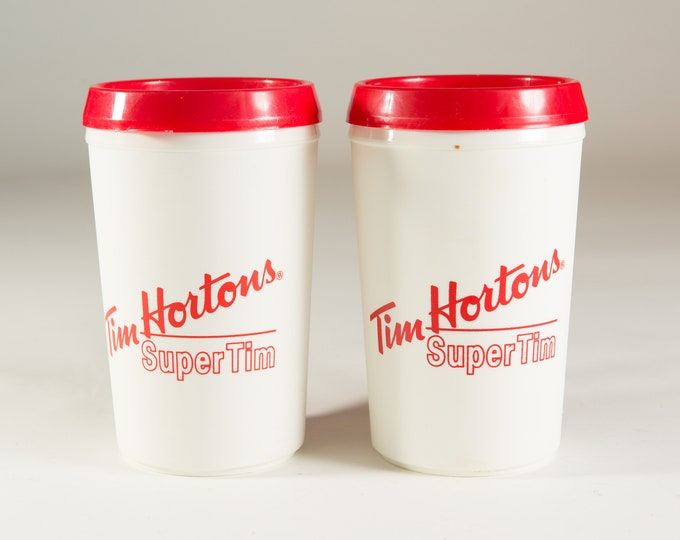 Vintage Tim Hortons Mugs - Pair of Retro Red and White Canadian Coffee Shop Plastic Lidded Cups