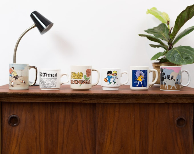 Vintage Mugs - Set of 6 Collectible Ceramic Coffee or Tea Mug - Soccer, Newsprint, Worlds Greatest Grandma, Girl with Umbrella and Rain