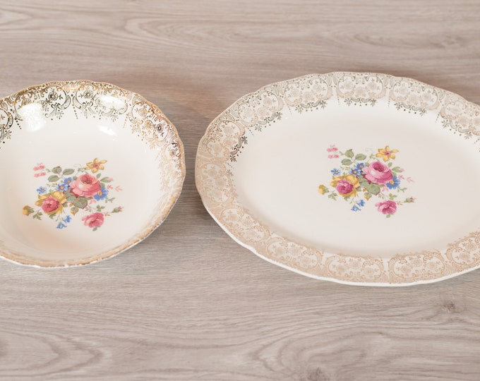 Vintage Serving Platters - Pair Keystone Canonsburg Floral Dishes with Warranted 22k Gold - Ornate Pink Flowers -Made in England Dinnerware