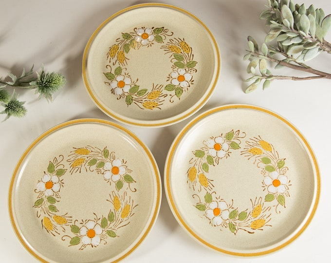 3 Vintage Dinner Plates with Floral Pattern - Prairie Flowers Hearthside Garden Festival Hand Painted Stoneware - Rustic Cabin Decor